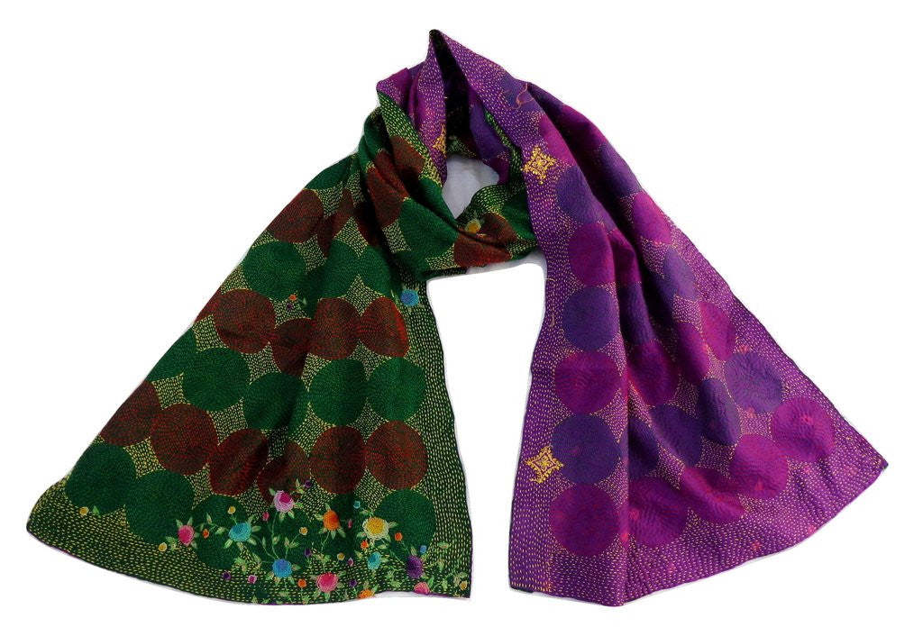Vintage SIlk Kantha Reversible Stoles / Patchwork Hand Kantha Collection