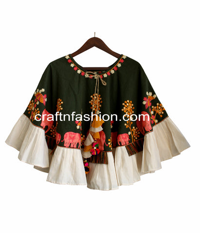 Colorful Boho Gypsy Embroidered Poncho Top