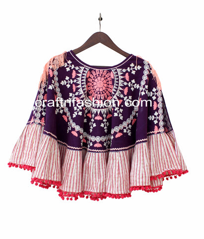 Embroidered Khadi Poncho Top/Tunic