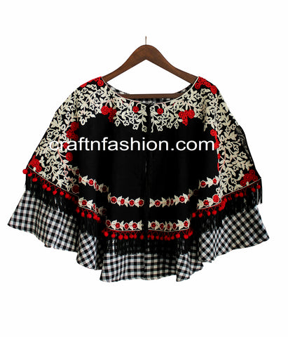 Black Colored Winter Fringe Poncho Top