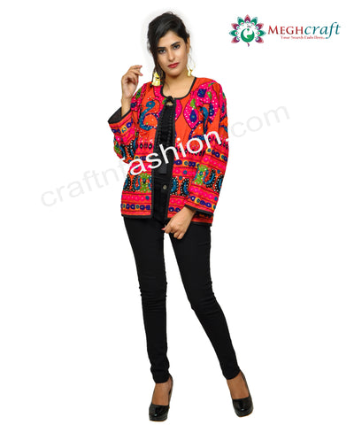 Multi Colored Mirror Work Ladies Jacket