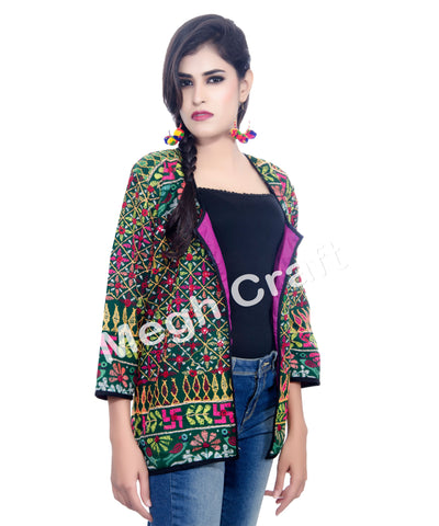 Indian Cotton Kutch Embroidered  Work Jacket