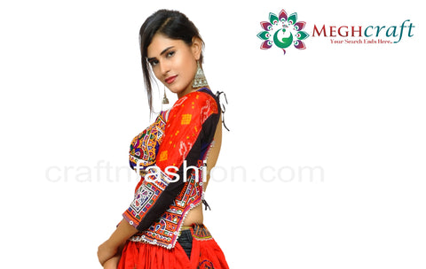 Bandhej Silk Navratri Wear Backless Blouse