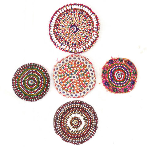 Set of 4 Beaded Vintage Afghani Patches