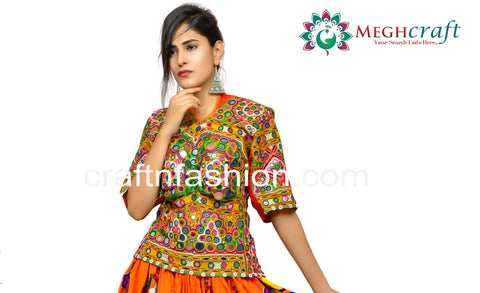 Navratri Festival Wear Kutchi Embroidered Top
