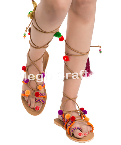 Woman Gladiator Pom Pom Sandals