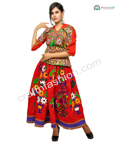 Kutch Floral Embroidery & Mirror Work Skirt