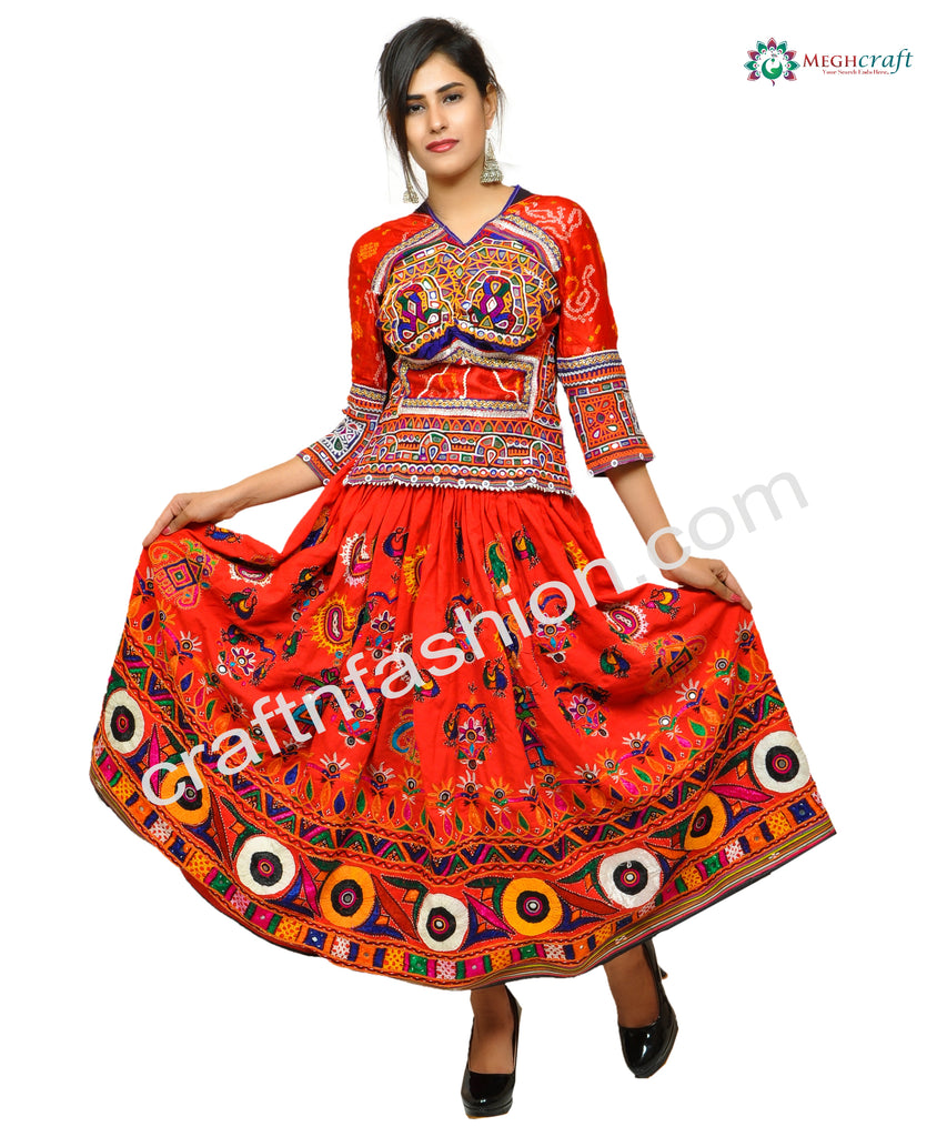 Banjara Bohemian Style Floral Embroidered Skirt