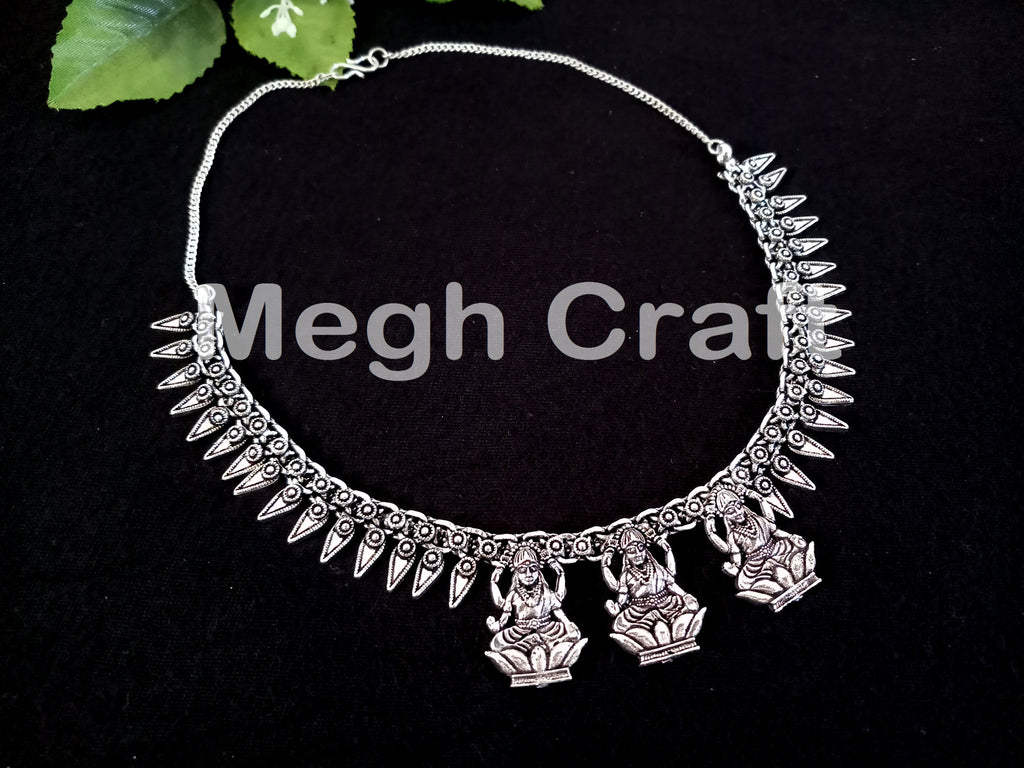 Tribal silver Plated Temple  Necklace