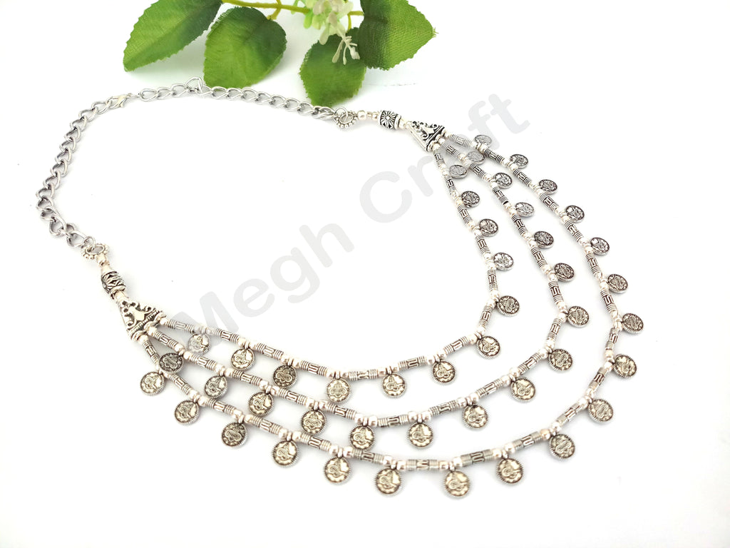 Garba Navratri Silver Necklace with Earrings