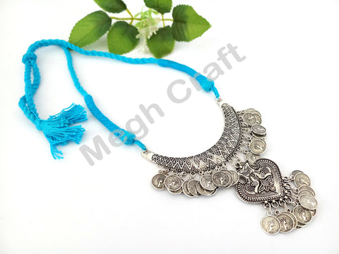 Antique Oxidized Silver Silk Thread Necklace