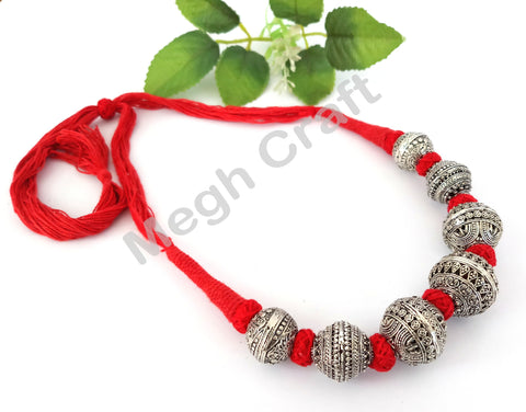 Navratri Silver Oxidized Necklace