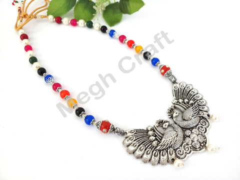 Hand-Crafted Peacock Silver Necklaces