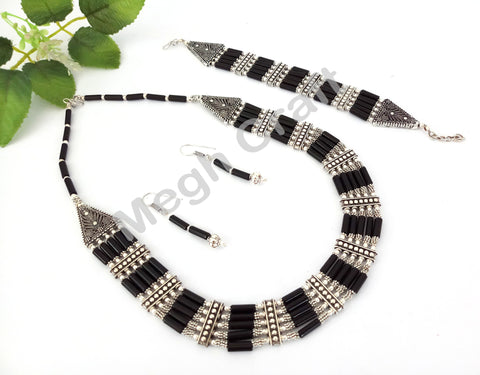 Designer Navratri Black Pearl Beaded Oxidized Pendant set