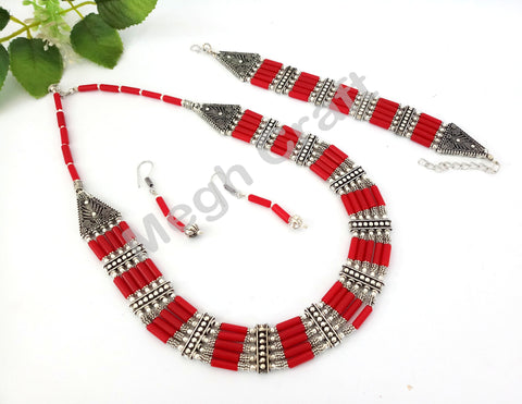 Designer Navratri Red Pearl Beaded Oxidized Pendant set
