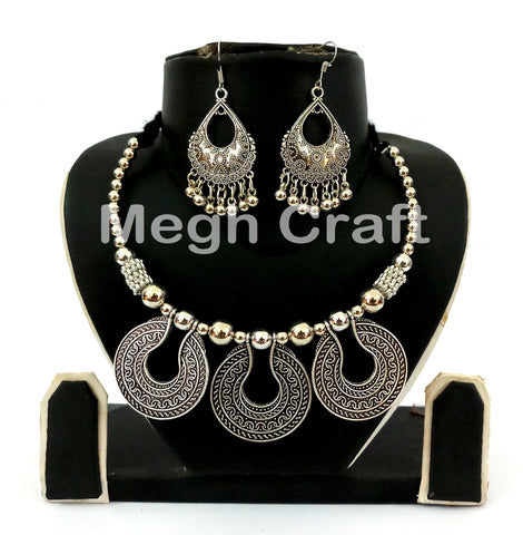 Traditional Navratri Oxidized Necklace Set