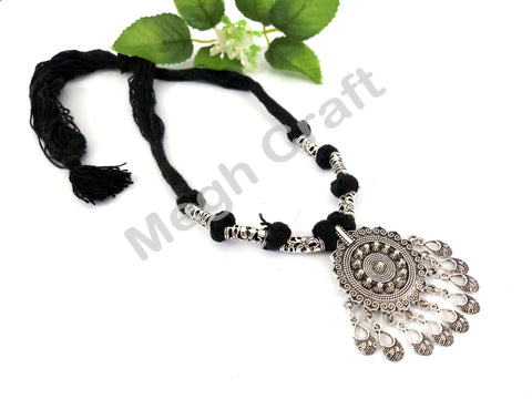 Designer Traditional Pearl Beaded  Oxidized Pendant set