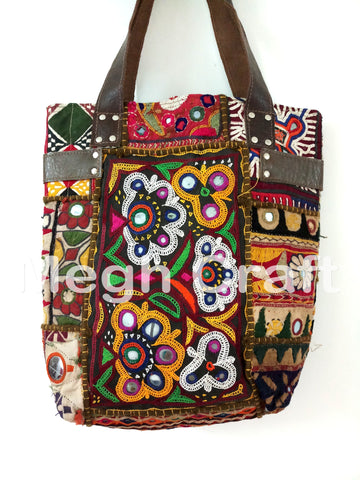 Vintage Embroidery Banjara Leather tote Handbag