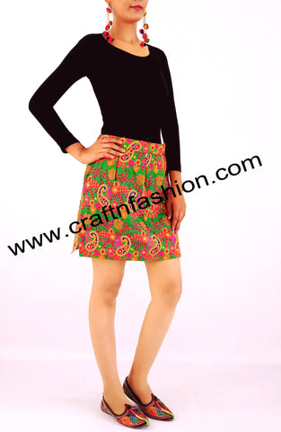 Women's Kutch Mirror Work Short Skirt