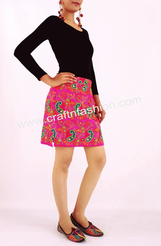 Cotton Thread Work Short Kutchi Boho Skirt