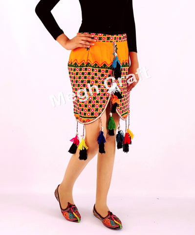 Kutch hand embroidered short boho pompom tassel skirt