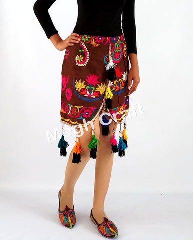 Designer embroidered short boho skirt