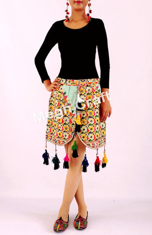 Designer Kutch hand embroidered short boho skirt