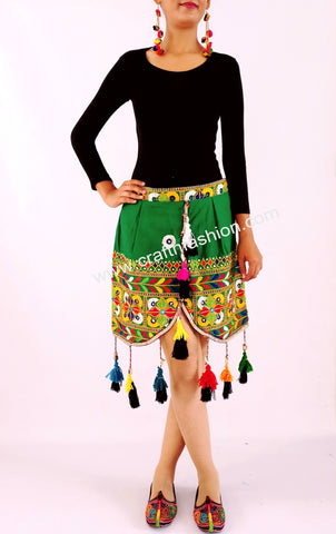 Multicolored Gujarati Gamthi Fringe Banjara Skirt