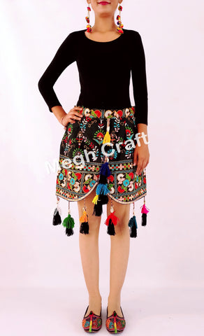 Ethnic Indian Vintage Fabric Boho Short Skirt