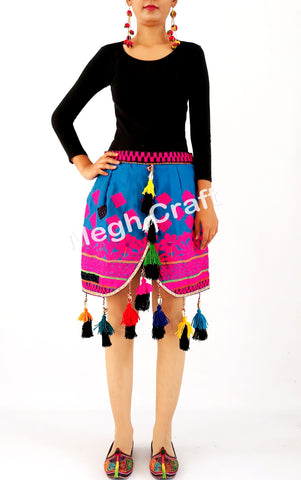 Vintage Banjara Tribal Mirror Work Mini Skirt