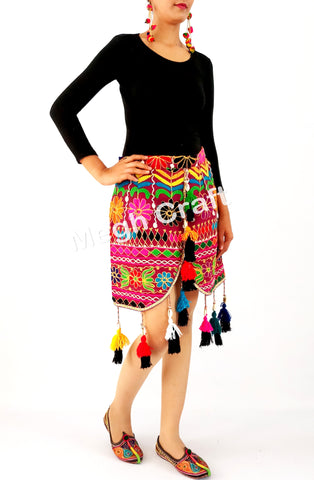 Colourful Vintage fabric Pom Pom fringe skirt