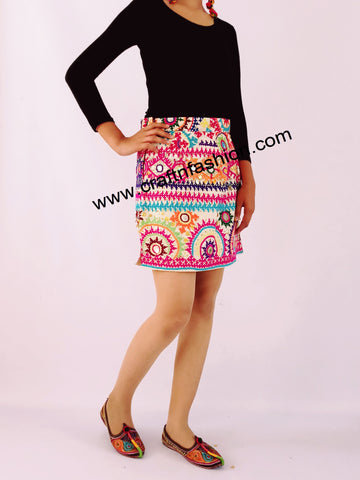Floral Embroidery Mirror Work Cotton Skirt