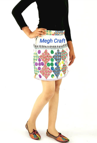 Vintage bohemian hand embroidery Short Skirt