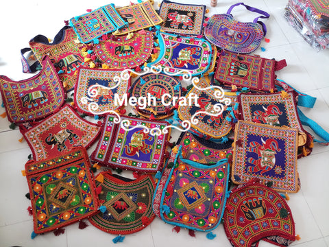 Wholesale Lot : - Designer Kutch Banjara  jhola bags- Indian Banjara Kutch Embroidery long belt bag - 15 Pieces