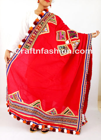 Gujarati embroidery mirror work dupattas
