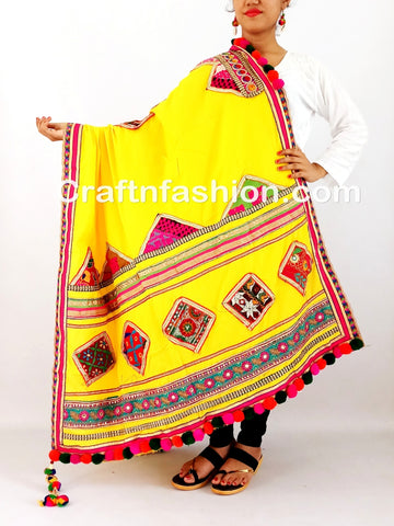 Indian Kutch Embroidery Mirror Lace Work Dupatta