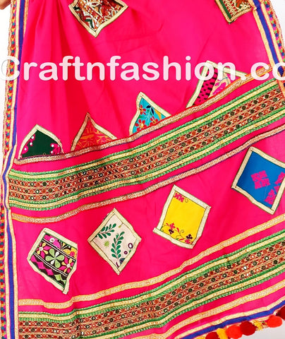 Multicolor thread and mirror work dupatta