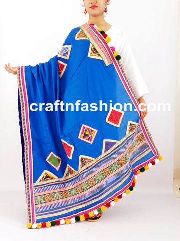 Pom Pom Tassels Beaded Cotton Dupatta