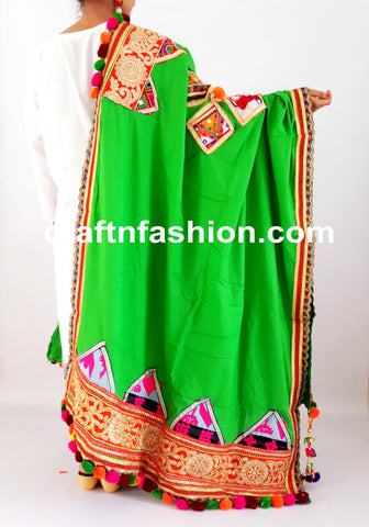 Vintage Rabari Embroidery Patch Work Dupatta