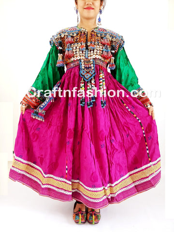 Afghan Kuchi Silk Embroidered With Tassels Frock