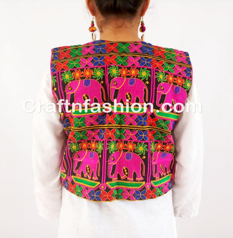 Colorful embroidery Mirror work elephant designer jacket koti