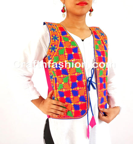 Hand Embroidered Mirror Work Jacket koti