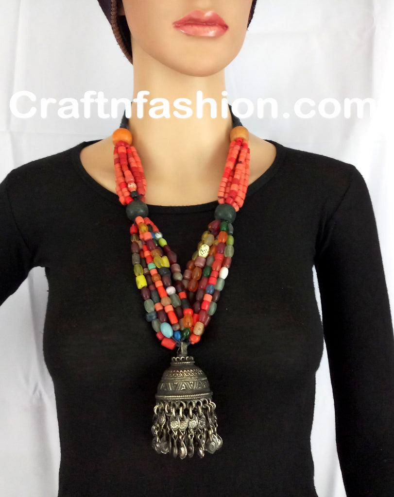 Afghani Pearl Beaded Jhumka Necklace set