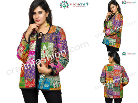 Multi Colored Tikki Work Boho Jacket