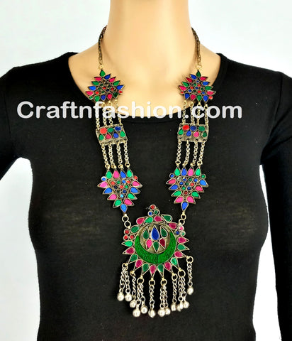 Afghani Chandbali necklace set
