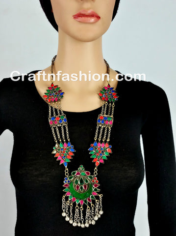 Colorful Stone Afghani Kuchi Necklace set