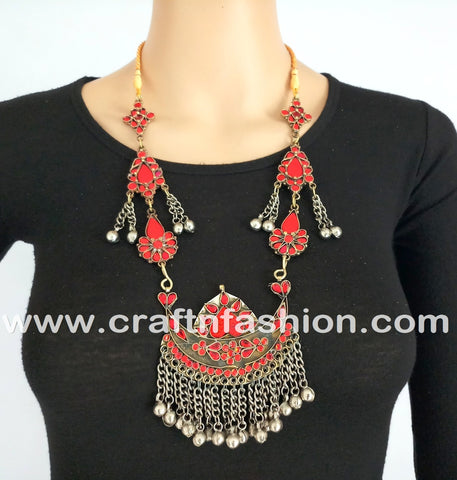 Tribal Dance wear Colored Stone Kuchi Necklace
