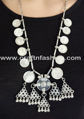 1960's Afghani Handmade German Silver Necklace