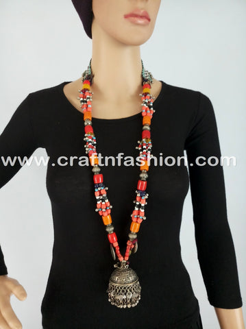 Multi Colored Long Afghani Pendant Necklace