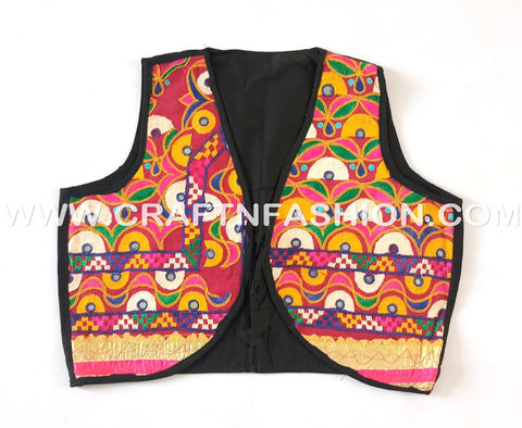 Vintage Style Embroidered Sleeveless Jacket.